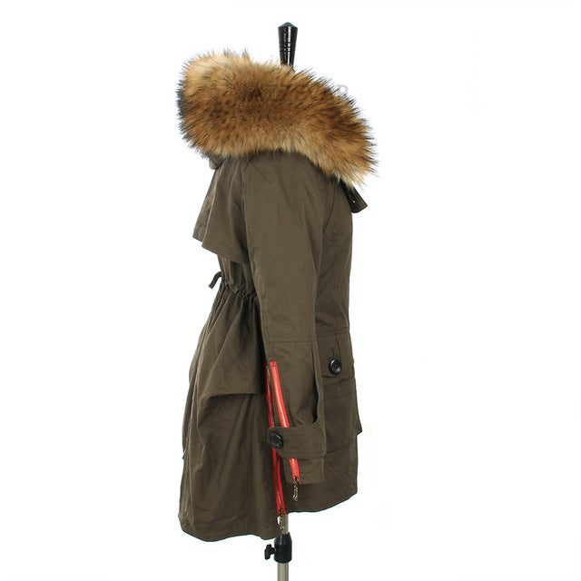 Image of Army Parka Jacket with Real Fur Hood Red Zipper Detail