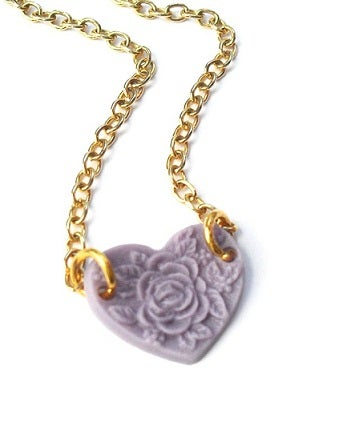 Image of Vintage Floral Heart Necklace