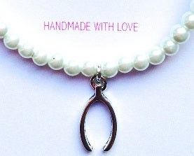 "Image of ""Will You Be My Bridesmaid"" Pearl Bracelet -  Wishbone Charm"