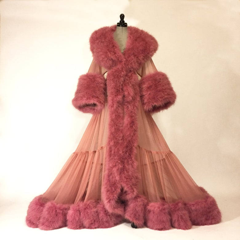 """Image of """"Dominique"""" Ultra-Plush Marabou Sheer Dressing Gown"""