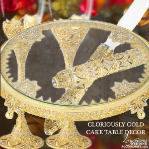 Image of Gloriously Gold Cake Table Decor