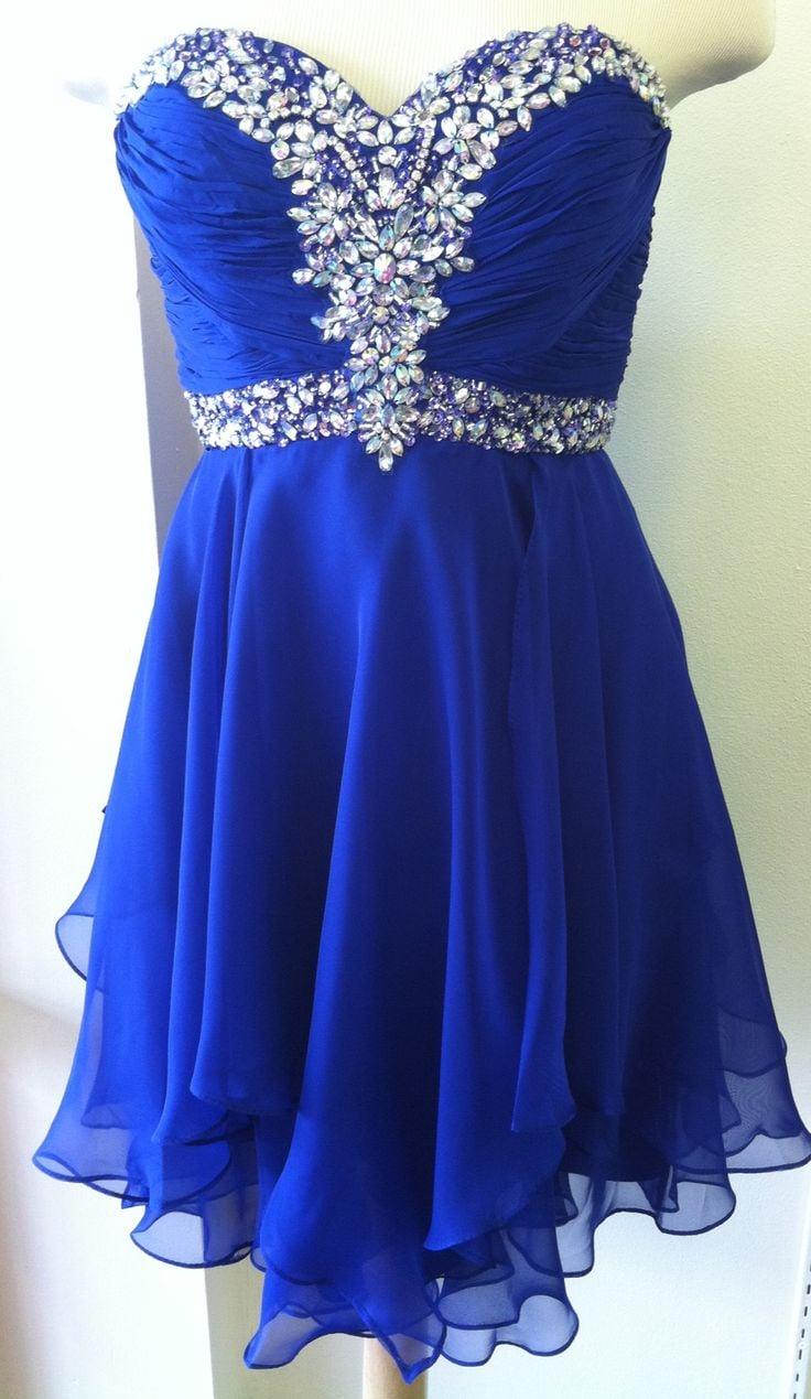 Lovely Handmade Blue Short Prom Dress 2016, Homecoming Dresses, Short Party Dresses