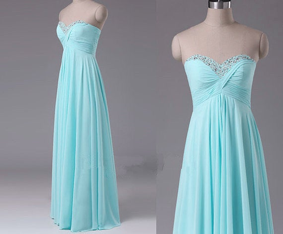 Beautiful Handmade Simple Mint Long Prom Dresses, Prom Dresses 2016, Evening Gowns