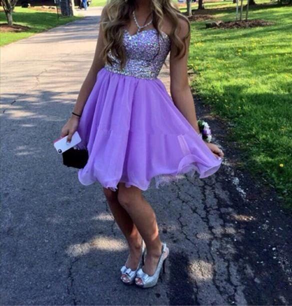 Lovely Lavender Short Prom Dress with Beadings, Prom Dresses, Homecoming Dresses