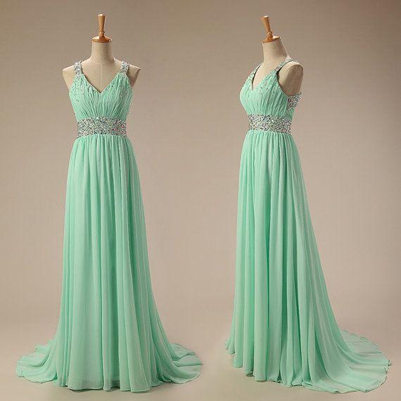 Pretty Mint Green Handmade Long Prom Dress,Prom Dresses , Evening Gowns