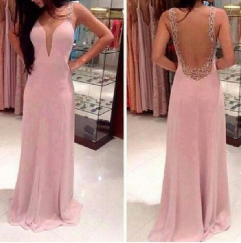Beautiful Handmade Pink Backless Prom Dress 2016, Prom Dresses, Evening Gowns