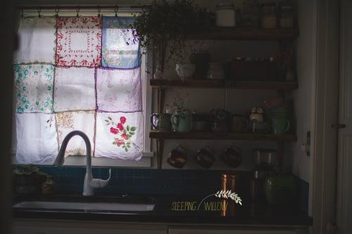 Image of Custom Vintage Hankie Curtain Listing