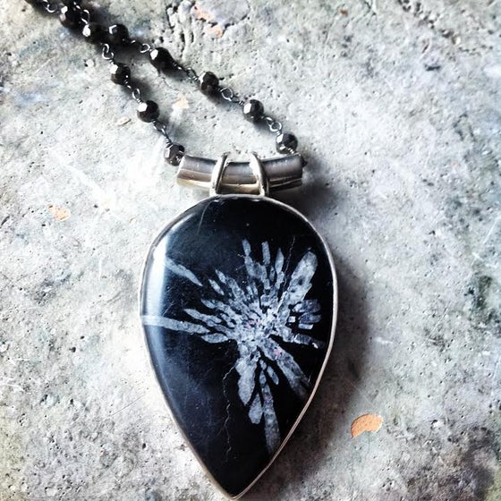 """Image of """"Embrace your Authentic Purpose"""" ~ Chrysanthemum Sterling Silver on Black Pyrite Chain  reaction"""