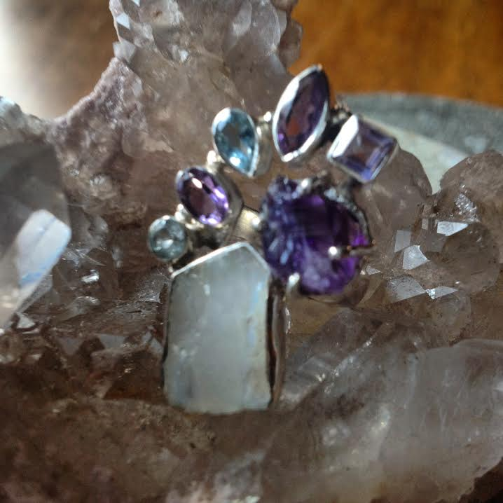 Image of Goddess Awaken and Speak Truth ~Rainbow Moonstone Rough, Amethyst Rough, Amethyst & Blue Topaz, S.S.