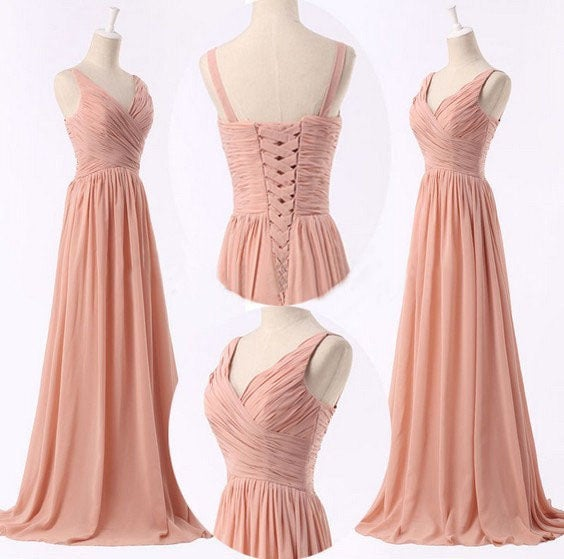 Pretty Pink Long Simple Prom Dresses, Bridesmaid Dresses 2016, Pink Evening Gowns