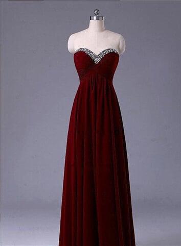 Lovely Burgundy Handmade Simple Sweetheart Prom Dresses, Prom Gowns , Evening Dresses