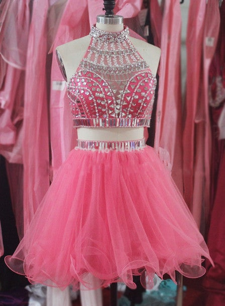 Beautiful Tulle Two Piece Beaded Prom Dresses, Two Piece Prom Dresses, Homecoming Dresses