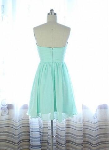 Lovely Short Mint Beaded Handmade Prom Dresses , Simple Prom Dresses, Homecoming Dresses
