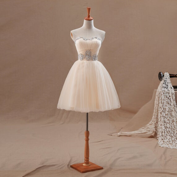 Cute Light Champagne Short Ball Gown Prom Dresses, Short Prom Dresses, Homecoming Dresses
