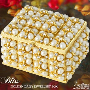 Image of Bliss Golden Daisy Pearl Swarovski Crystal Jewelry Box