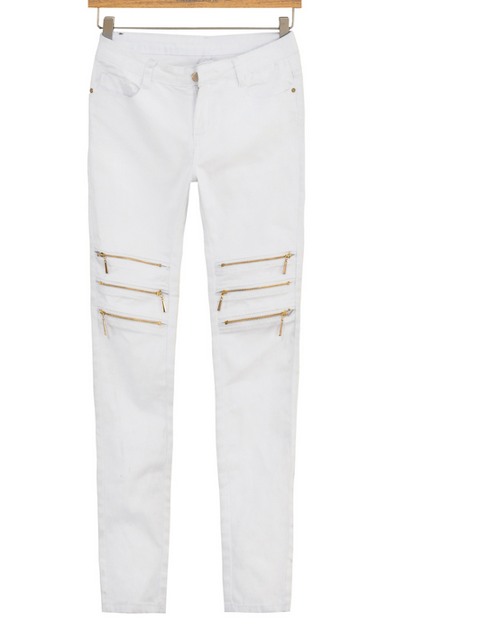 Image of FASHION CUTE ZIPPER JEANS high quality elastic jeans