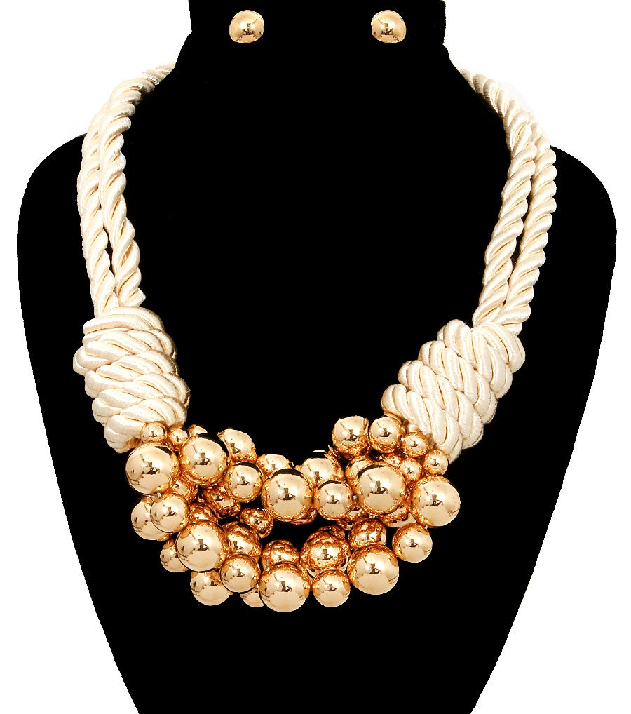 Image of Cord and Balls Necklace Set