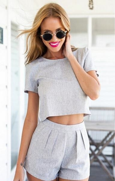 Image of PURE COLOR GRAY MIDRIFF LEISURE SUIT