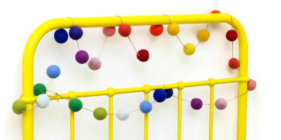 Image of Jumbo Ombre Rainbow Effect Felt Ball Garland