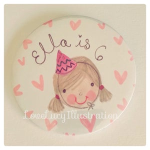 Image of Personalised Girl's Birthday Badge