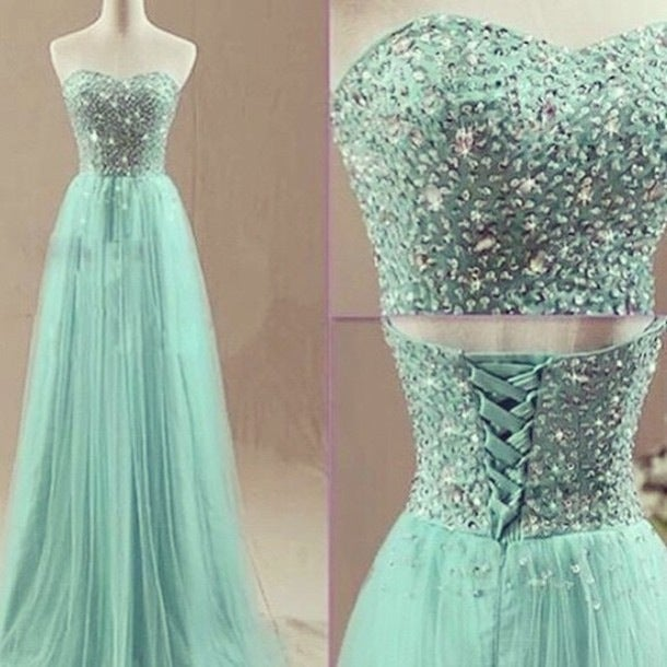 Charming Mint Long Tulle Beaded Prom Dresses, Prom Dresses , Prom Gowns