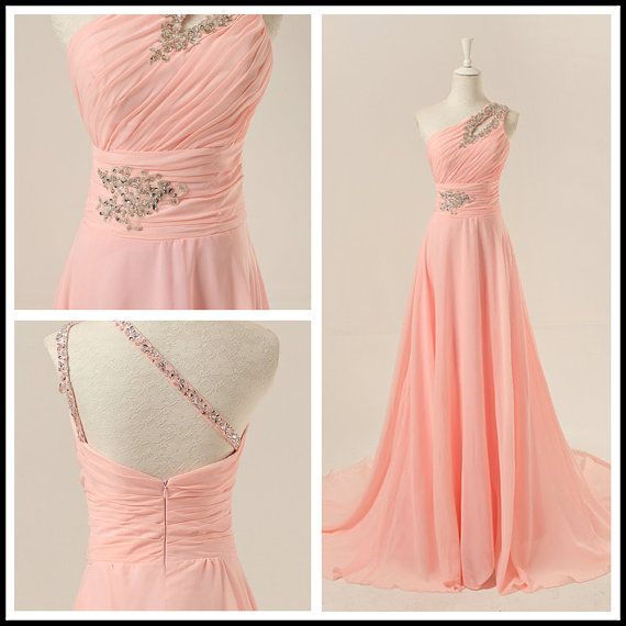 Custom Handmade Pink One Shoulder Prom Dresses, Prom Gowns, Evening Gowns