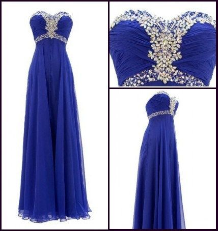 Beautiful Royal Blue Sweetheart Beaded Prom Dresses, Prom Dress , Evening Gowns