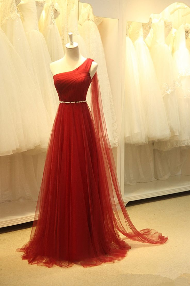 Charming Wine Red Handmade One Shoulder Prom Dresses, Prom Dresses , Party Dresses