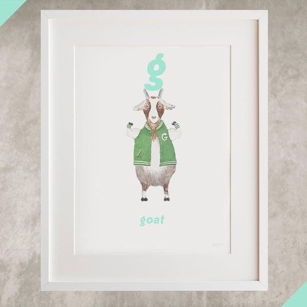 Image of G - Goat Letter Print