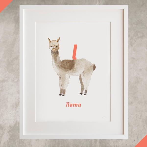 Image of L - Llama Letter Print