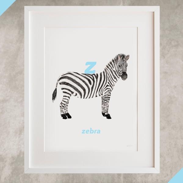 Image of Z - Zebra Letter Print