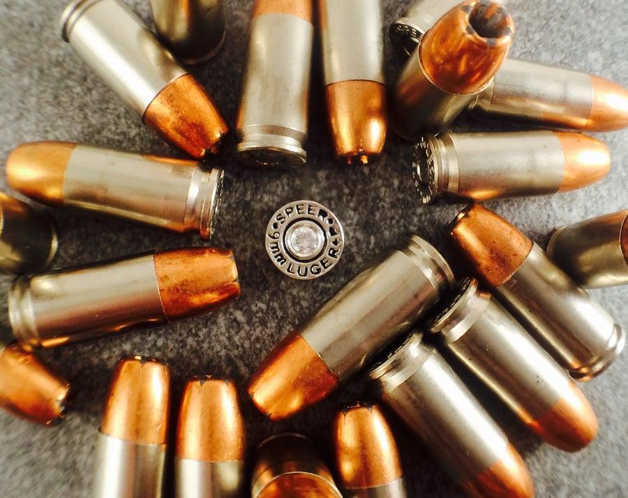 Image of 9mm SPEER Gold Dot Lapel Pin