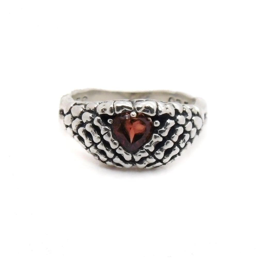 Image of Sterling Silver & Garnet Lovely Bones Ring