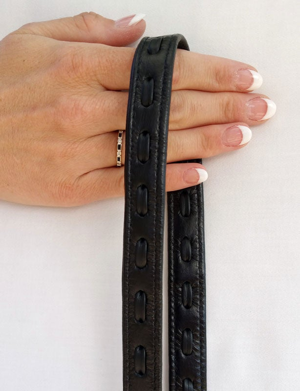 """Image of Black Leather Strap with LEATHER WEAVE Accent - .75"""" Wide - Choose Hook Finish & Style"""