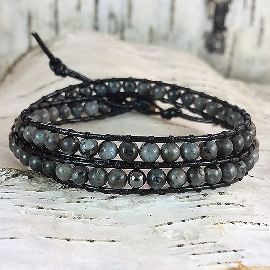 Image of Grey Larvikite Beads on Black Leather Double Wrap Bracelet