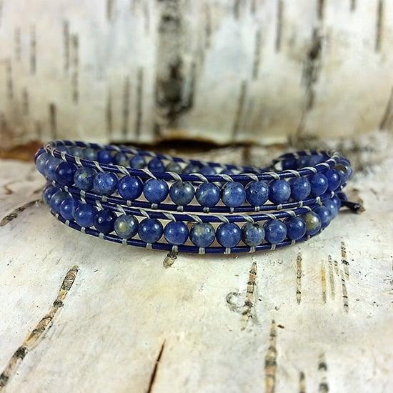 Image of Blue Sodalite Beads on Indigo Leather Double Wrap Bracelet (W-SDInd-02)
