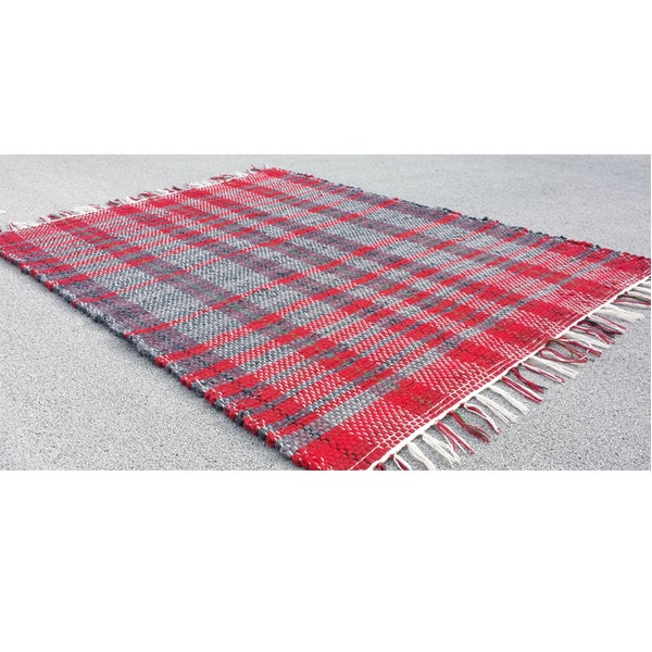 Image of Handwoven Rag Rug - Reds and grays / Eco-Friendly, upcycled