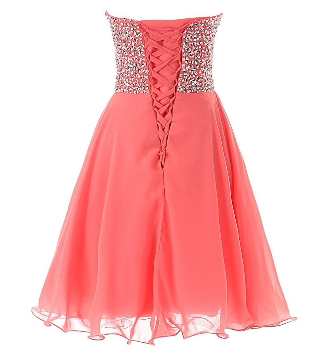 Lovely Short Watermelon Sequins Lace-up Prom Dresses, Short Prom Dresses, Homecoming Dresses