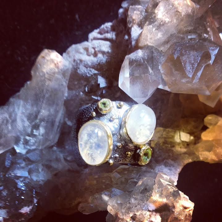 Image of Green Goddess Heart of Healing ~Moonstone and Peridot~Sterling Silver