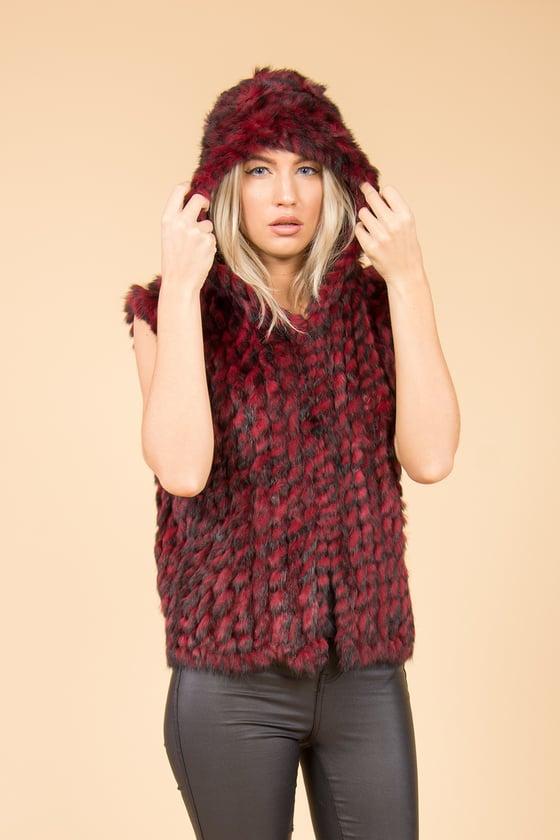 Image of JayLey Red Hooded Fur Gilet
