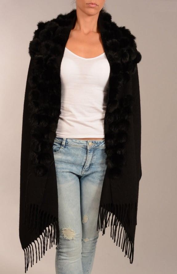 Image of Jayley Coney Fur pom pom black 100% wool wrap