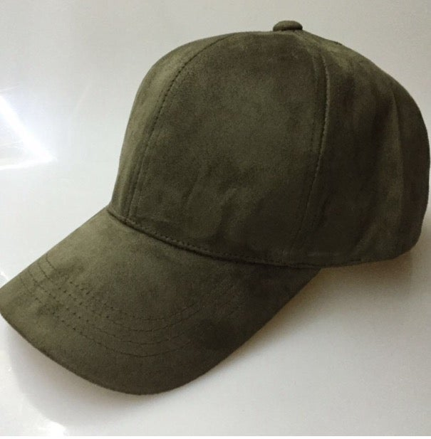 Image of KHAKI 6 PANEL CAP / SUEDE