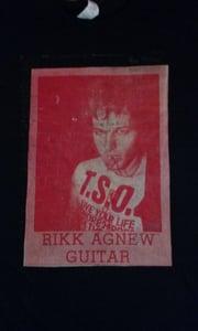 Image of Rikk Agnew red Newsprint Tee
