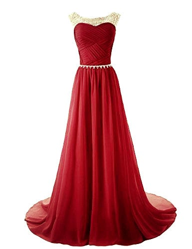 Beautiful Wine Red Long Beaded Prom Dress, Prom Dresses, Prom Gowns