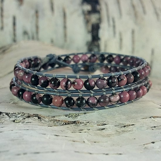 Image of Rhodonite Beads on Grey Leather Double Wrap Bracelet