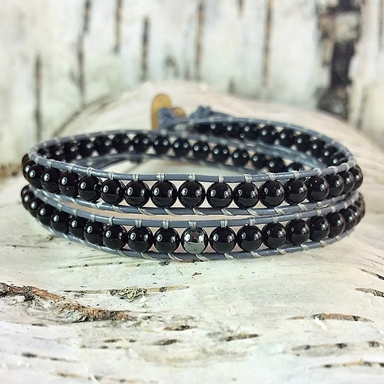 Image of Black Onyx Beads on Grey Leather Double Wrap Bracelet