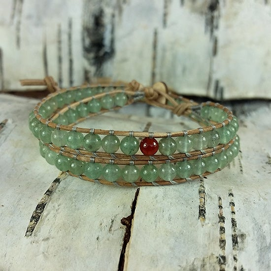 Image of Green Aventurine Beads on Natural Leather Double Wrap Bracelet