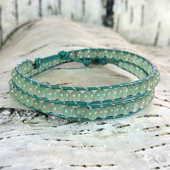 Image of Green Aventurine Beads on Green Leather Double Wrap Bracelet