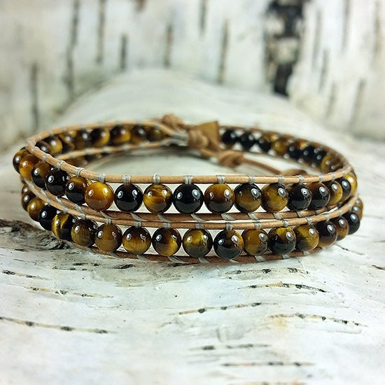 Image of Tigers Eye Beads on Natural Brown Leather Wrap Bracelet