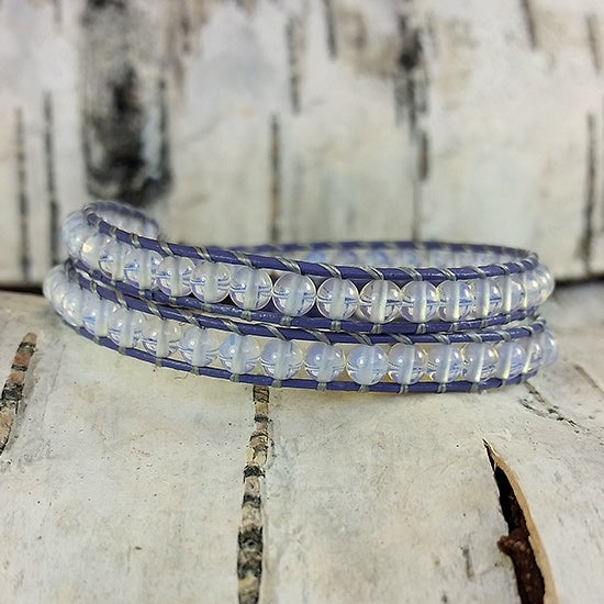 Image of Moonstone Beads on Lilac Leather Double Wrap Bracelet
